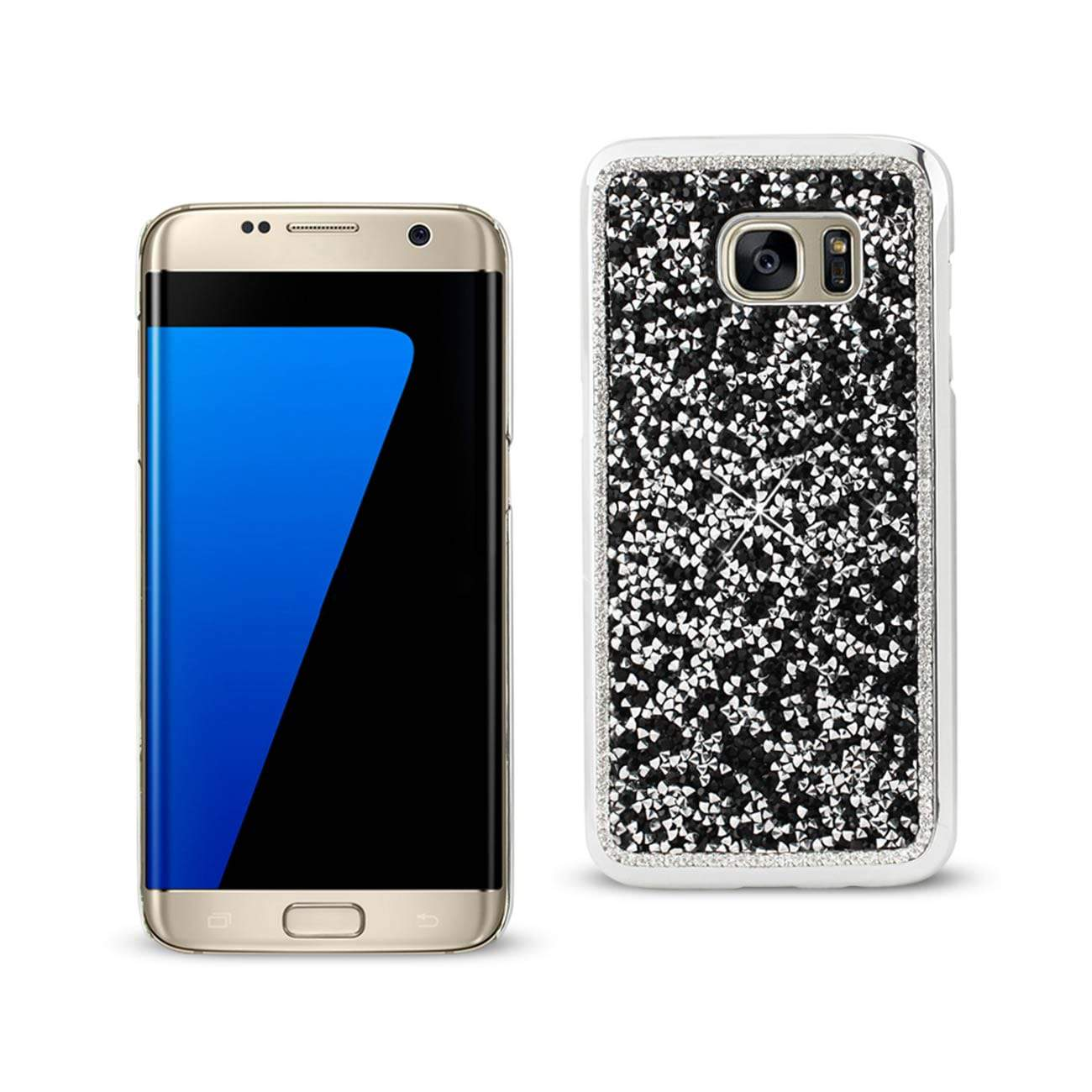 SAMSUNG GALAXY S7 EDGE JEWELRY BLING RHINESTONE CASE IN BLACK