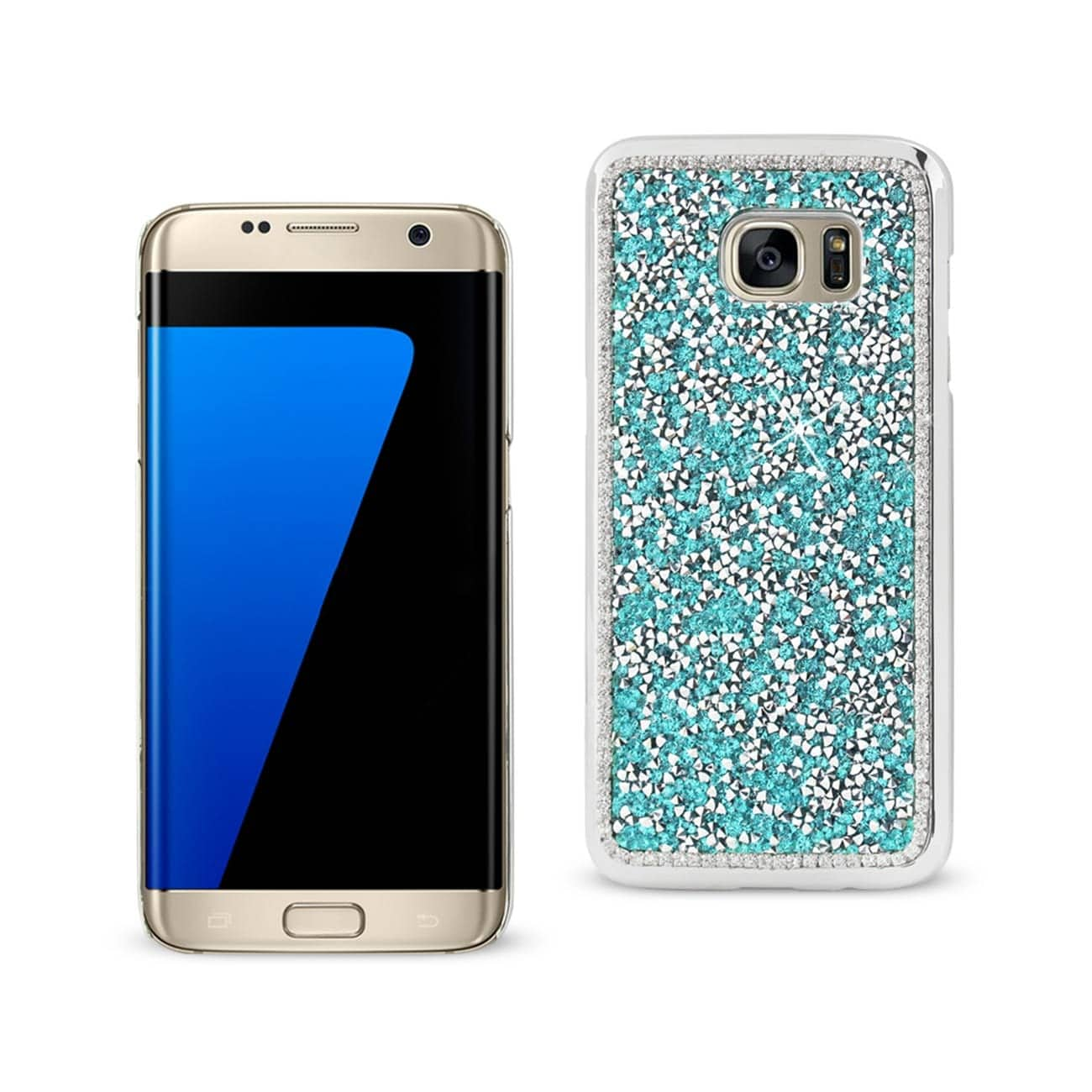 SAMSUNG GALAXY S7 EDGE JEWELRY BLING RHINESTONE CASE IN BLUE