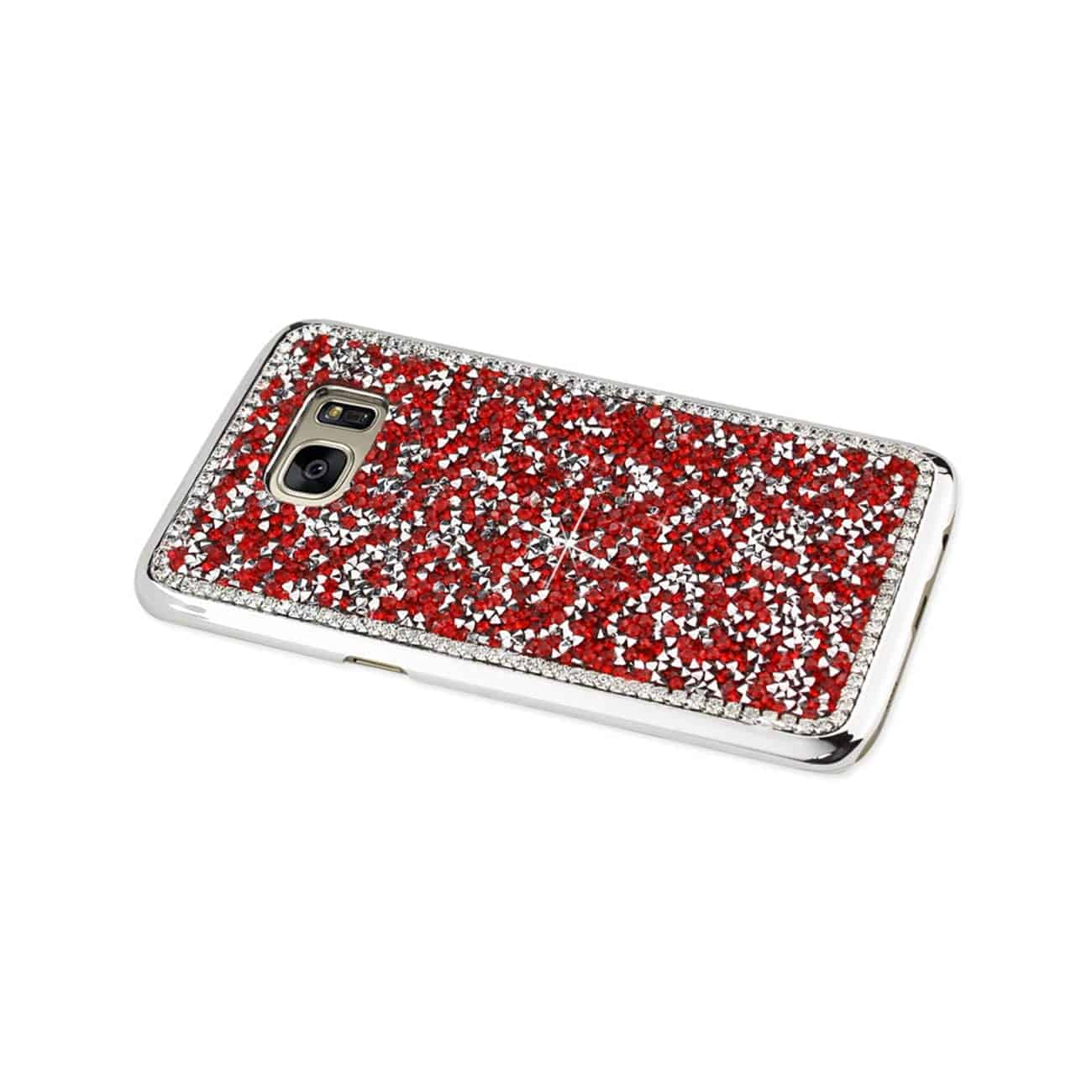 SAMSUNG GALAXY S7 EDGE JEWELRY BLING RHINESTONE CASE IN RED