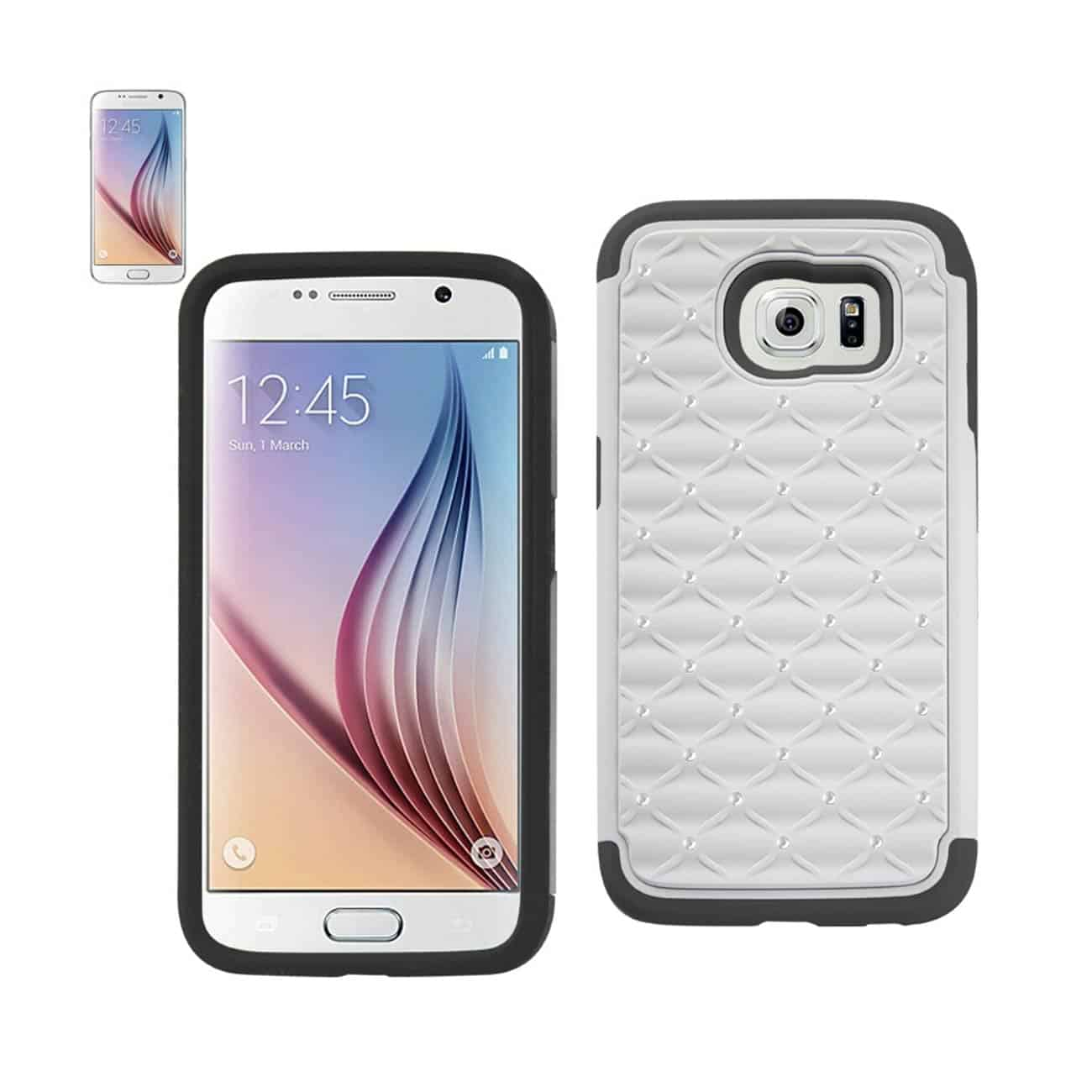 SAMSUNG GALAXY S6 HYBRID HEAVY DUTY JEWELRY DIAMOND CASE IN BLACK WHITE
