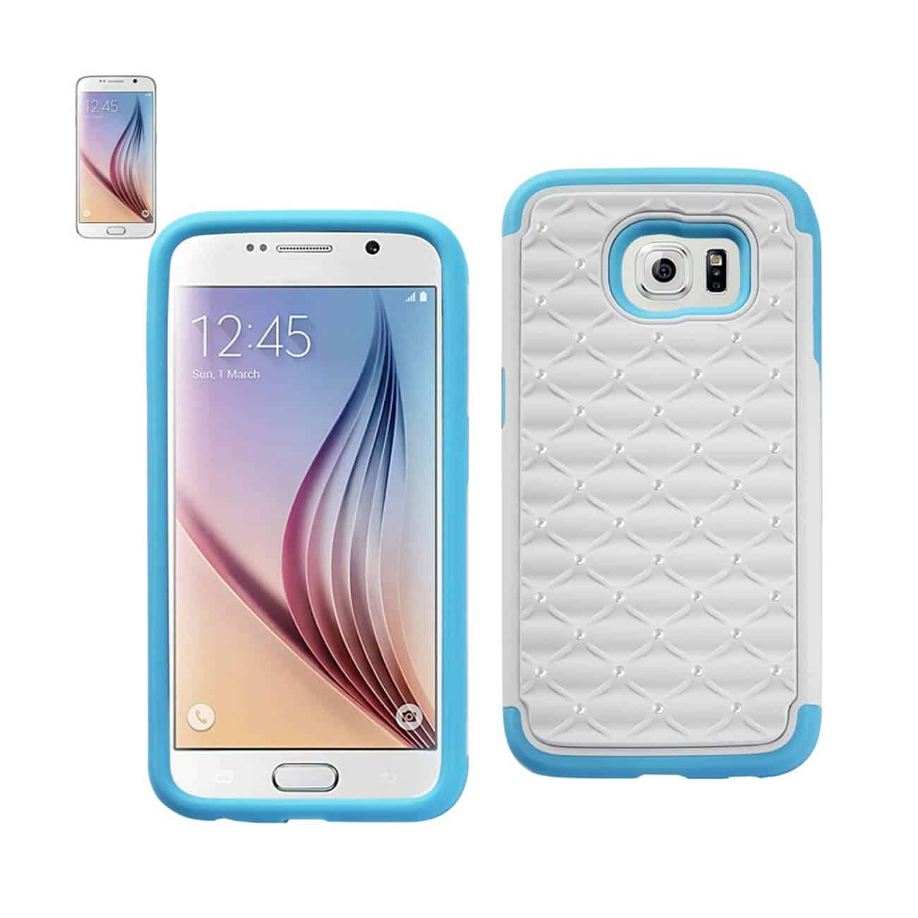 SAMSUNG GALAXY S6 HYBRID HEAVY DUTY JEWELRY DIAMOND CASE IN BLUE WHITE