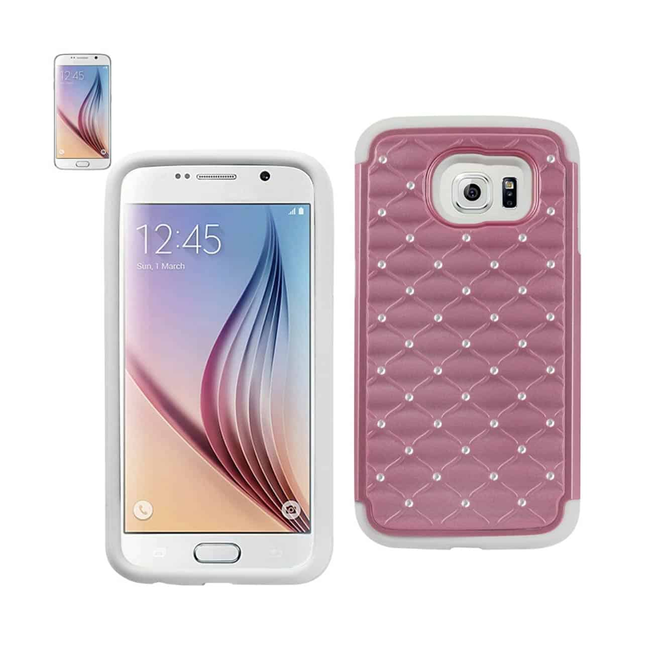 SAMSUNG GALAXY S6 HYBRID HEAVY DUTY JEWELRY DIAMOND CASE IN WHITE PINK