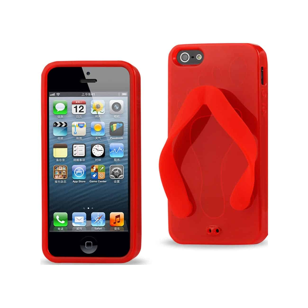 IPHONE SE/ 5S/ 5 SILICONE SLIPPER SANDAL CASE IN RED