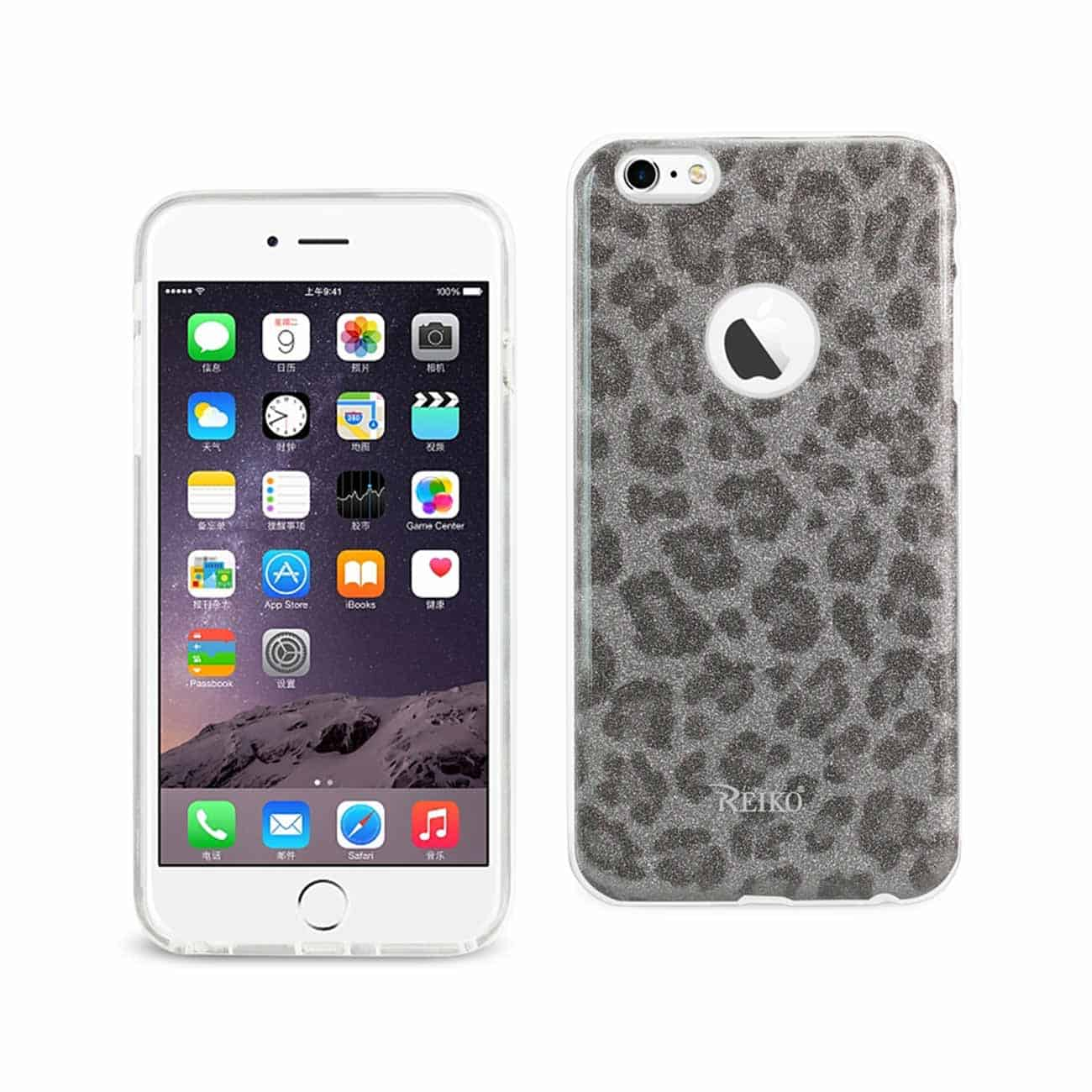 IPHONE 6 PLUS/ 6S PLUS SHINE GLITTER SHIMMER LEOPARD HYBRID CASE IN SILVER