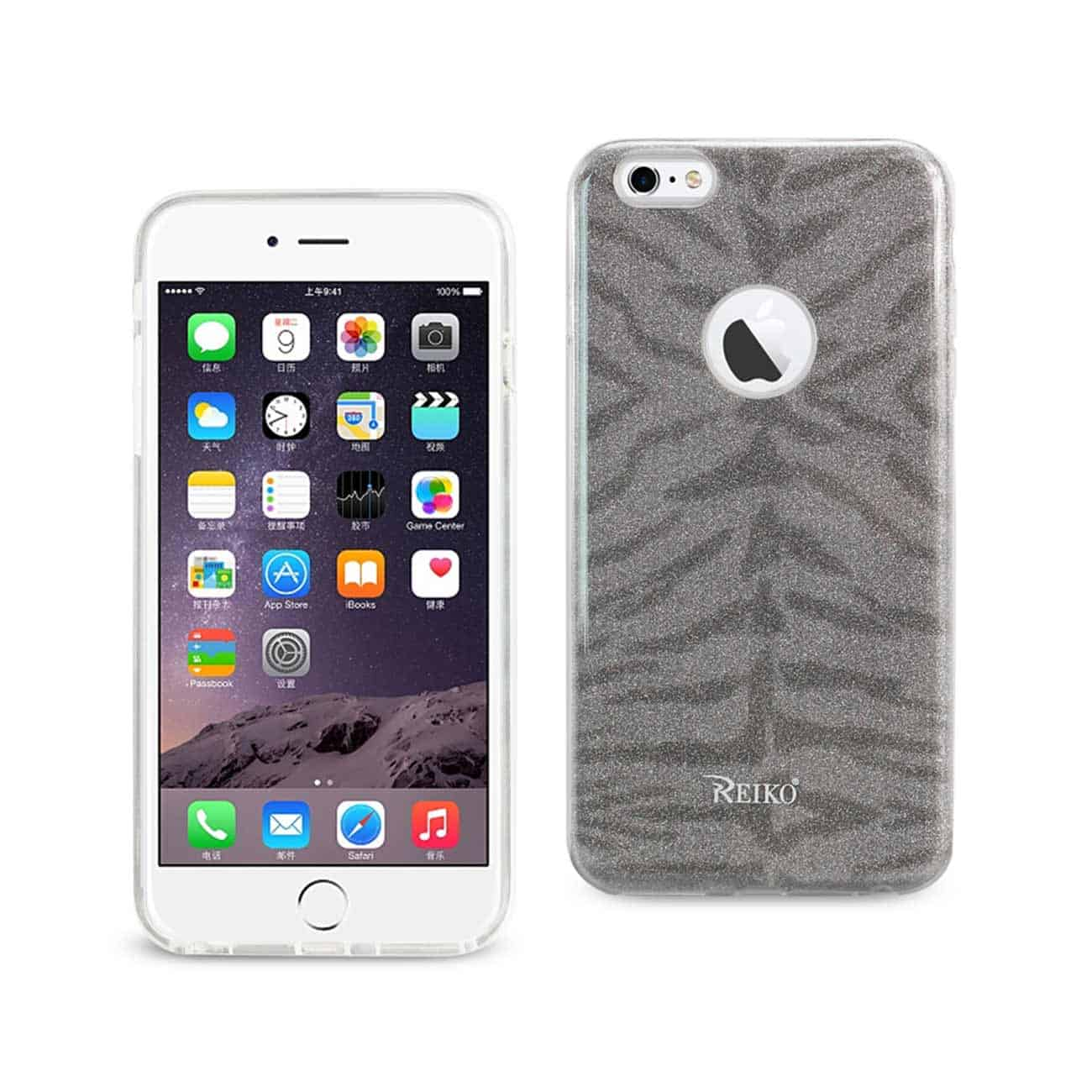 IPHONE 6 PLUS/ 6S PLUS SHINE GLITTER SHIMMER TIGER STRIPE HYBRID CASE IN GRAY