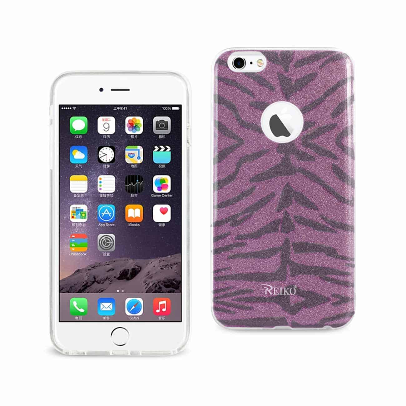 IPHONE 6 PLUS/ 6S PLUS SHINE GLITTER SHIMMER TIGER STRIPE HYBRID CASE IN PURPLE