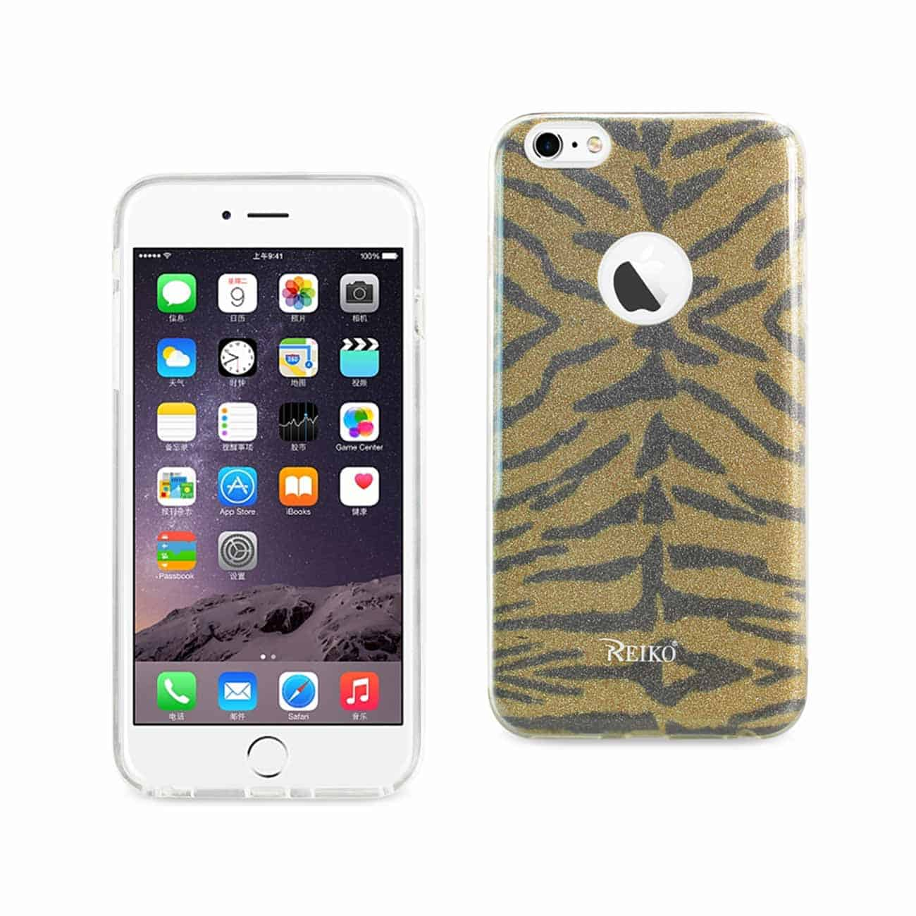IPHONE 6 PLUS/ 6S PLUS SHINE GLITTER SHIMMER TIGER STRIPE HYBRID CASE IN YELLOW