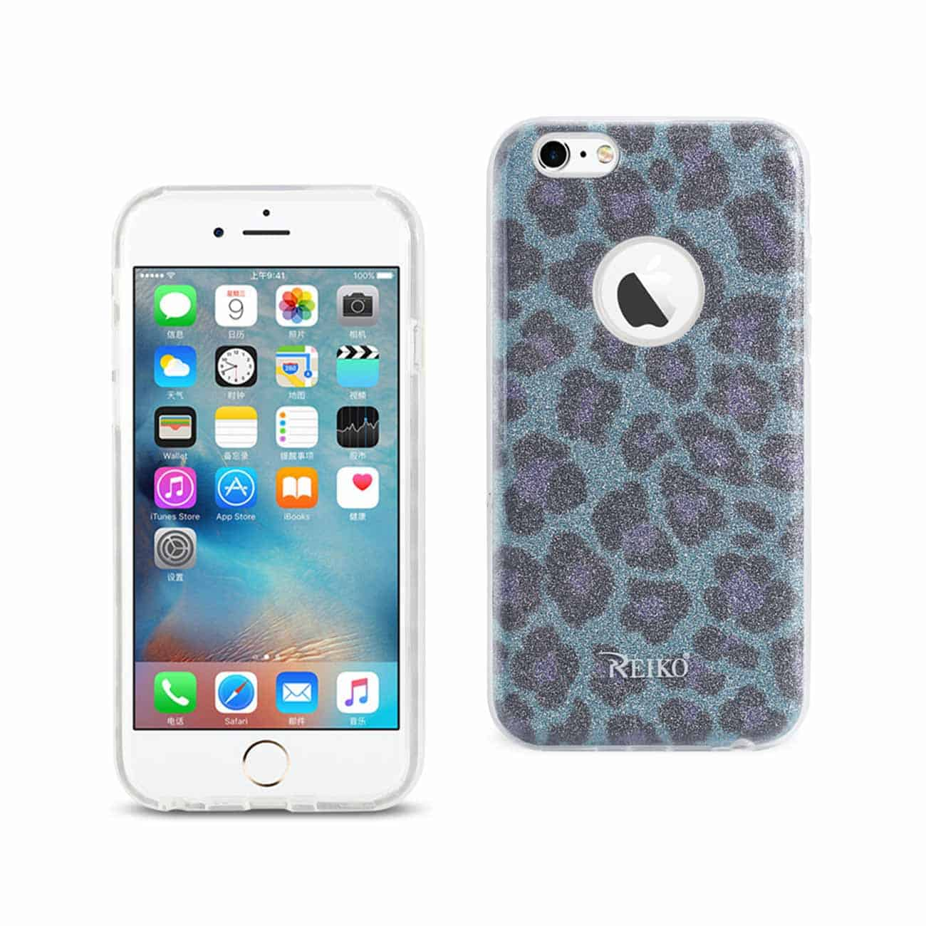 IPHONE 6/ 6S SHINE GLITTER SHIMMER LEOPARD HYBRID CASE IN BLUE