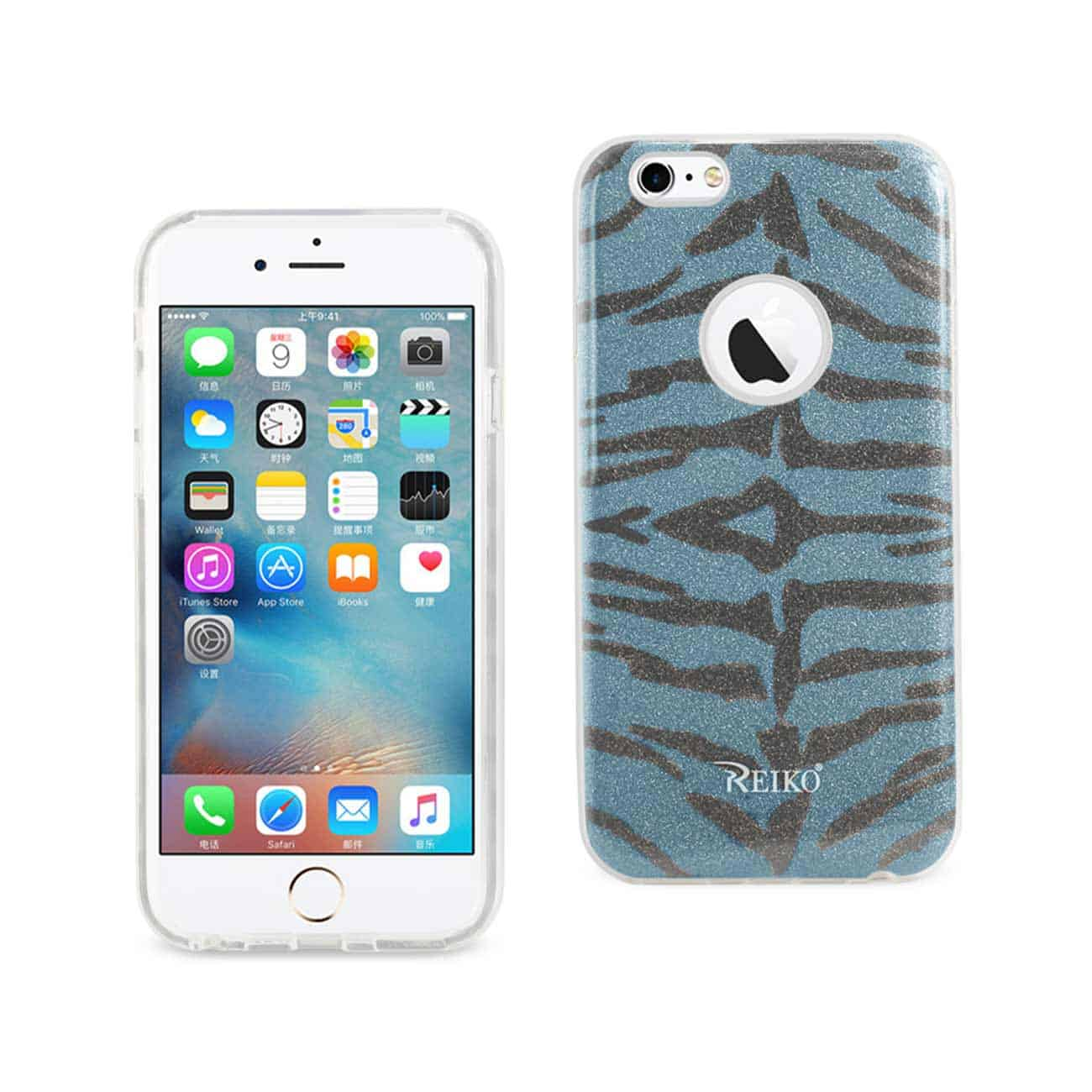 IPHONE 6/ 6S SHINE GLITTER SHIMMER TIGER STRIPE HYBRID CASE IN BLUE