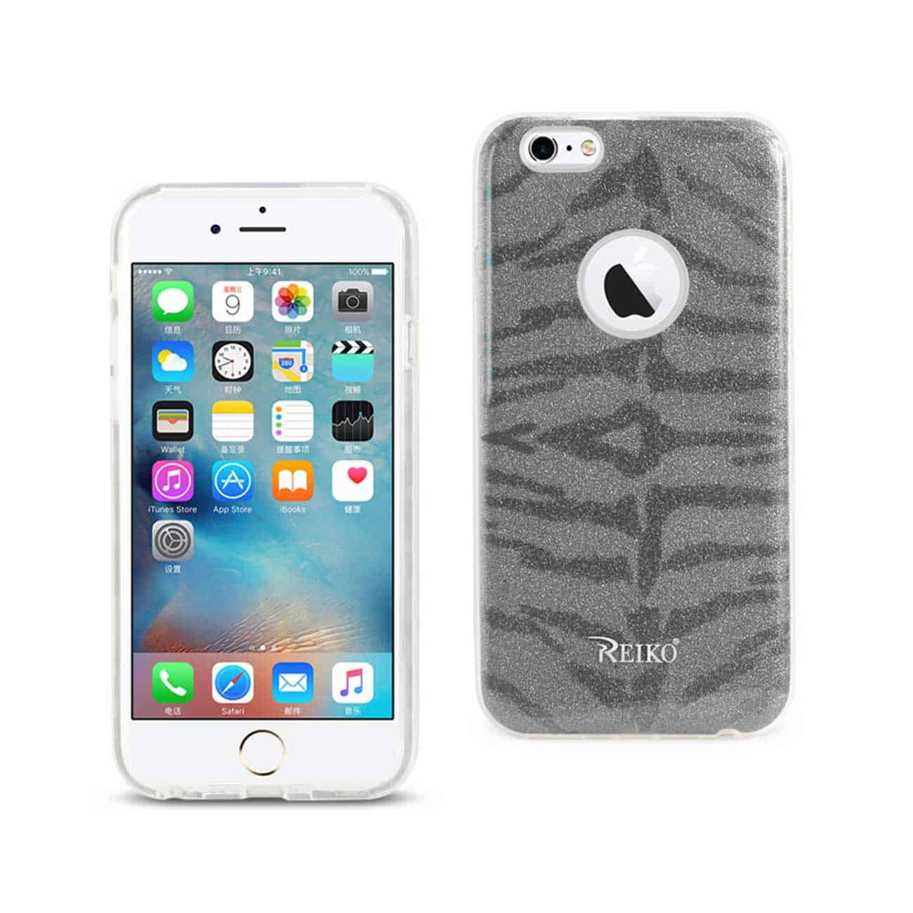 IPHONE 6/ 6S SHINE GLITTER SHIMMER TIGER STRIPE HYBRID CASE IN GRAY