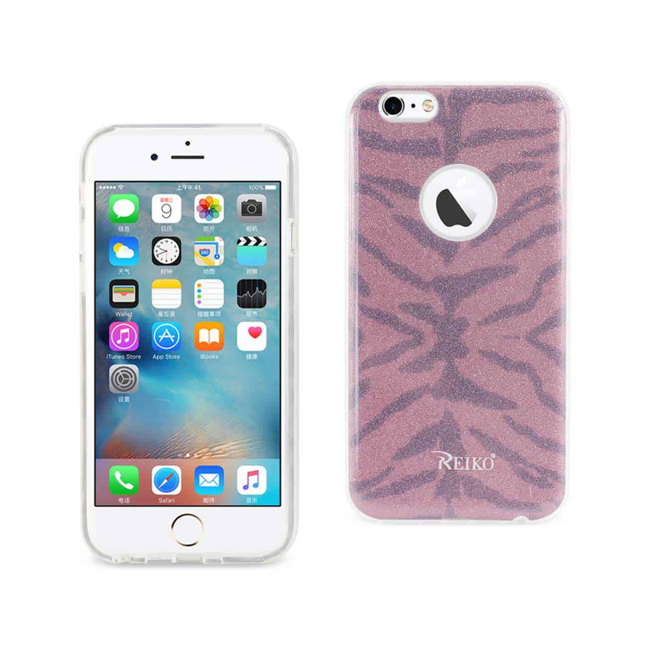 IPHONE 6/ 6S SHINE GLITTER SHIMMER TIGER STRIPE HYBRID CASE IN HOT PINK