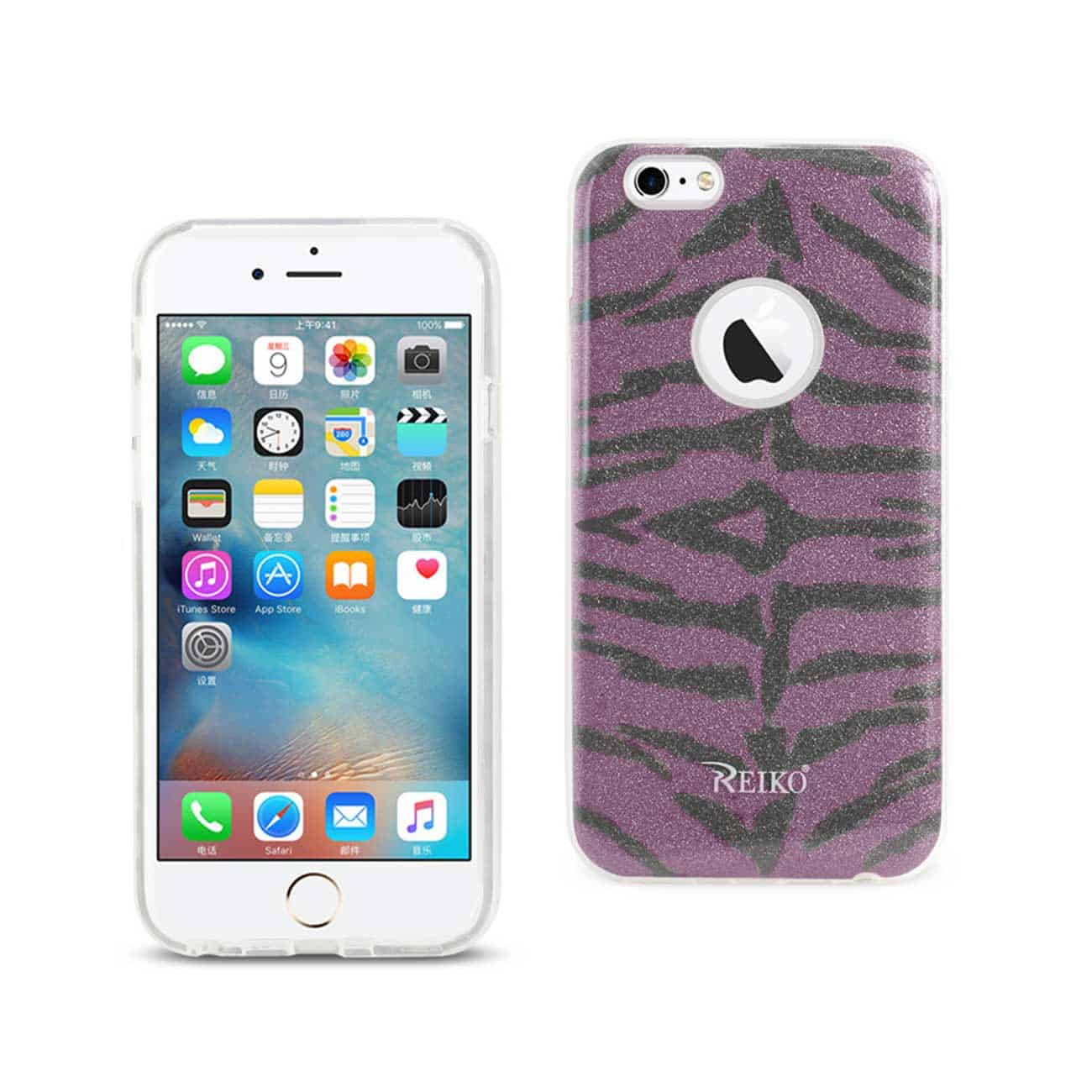 IPHONE 6/ 6S SHINE GLITTER SHIMMER TIGER STRIPE HYBRID CASE IN PURPLE
