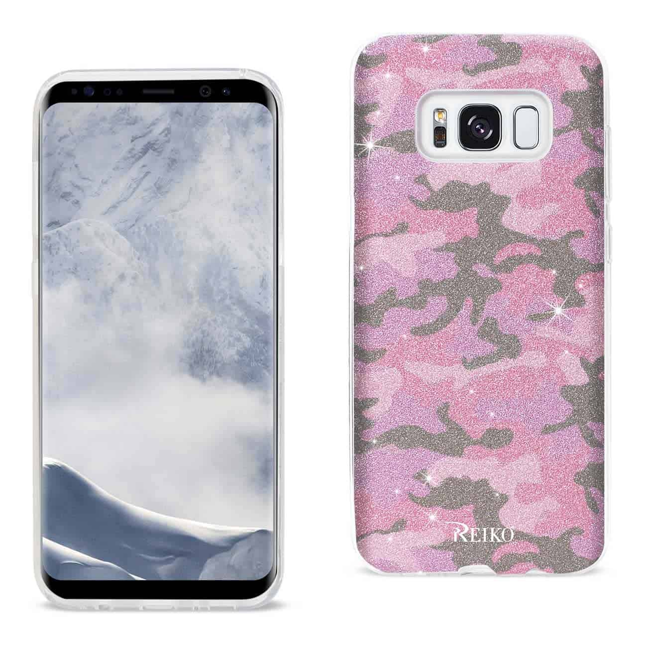 SAMSUNG GALAXY S8 EDGE/ S8 PLUS SHINE GLITTER SHIMMER CAMOUFLAGE HYBRID CASE IN HOT PINK
