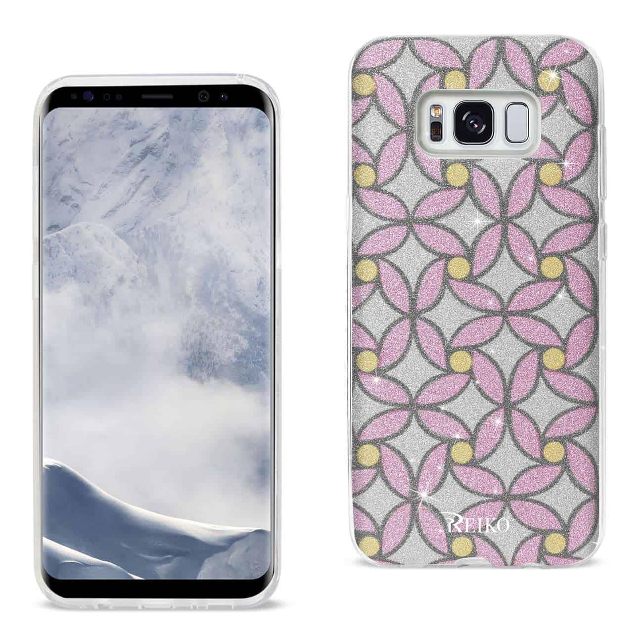 SAMSUNG GALAXY S8 EDGE/ S8 PLUS SHINE GLITTER SHIMMER FLOWER HYBRID CASE IN FLOWER PINK