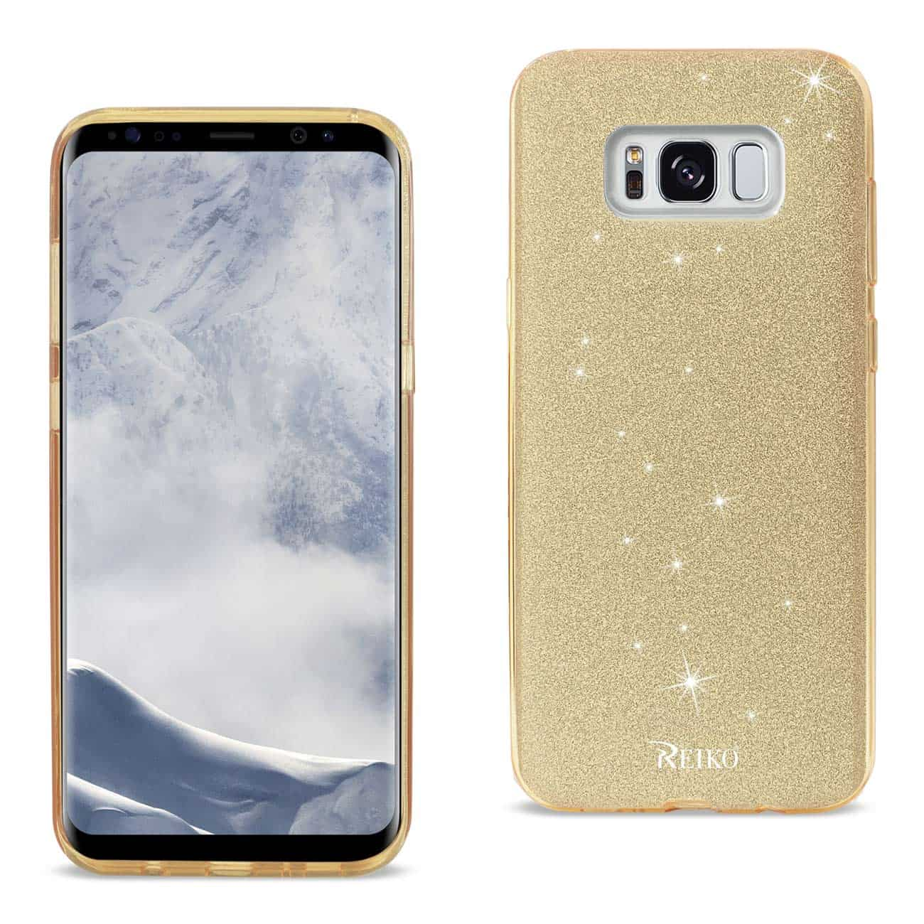 SAMSUNG GALAXY S8 EDGE/ S8 PLUS SHINE GLITTER SHIMMER LEOPARD HYBRID CASE IN GOLD