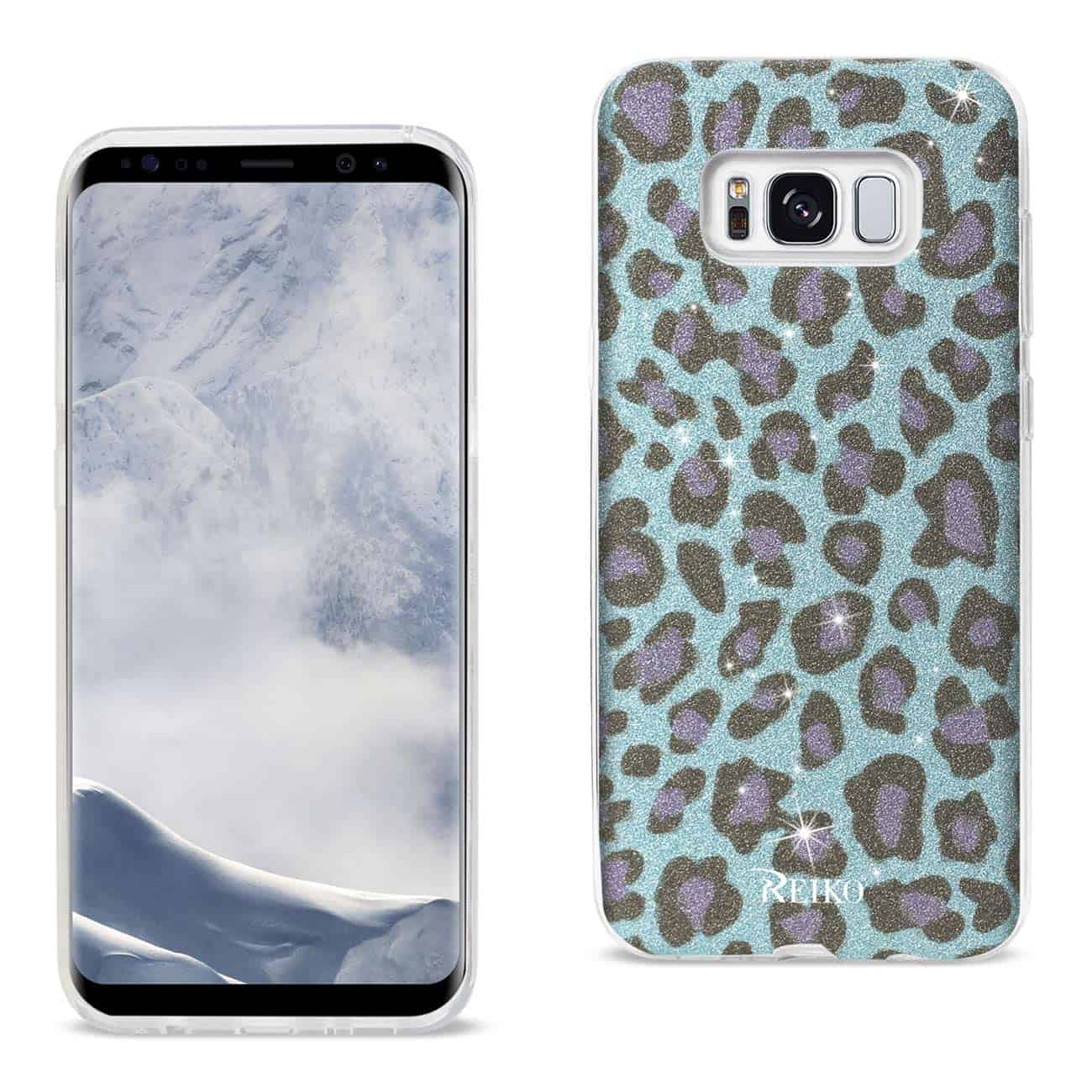 SAMSUNG GALAXY S8 EDGE/ S8 PLUS SHINE GLITTER SHIMMER LEOPARD HYBRID CASE IN BLUE
