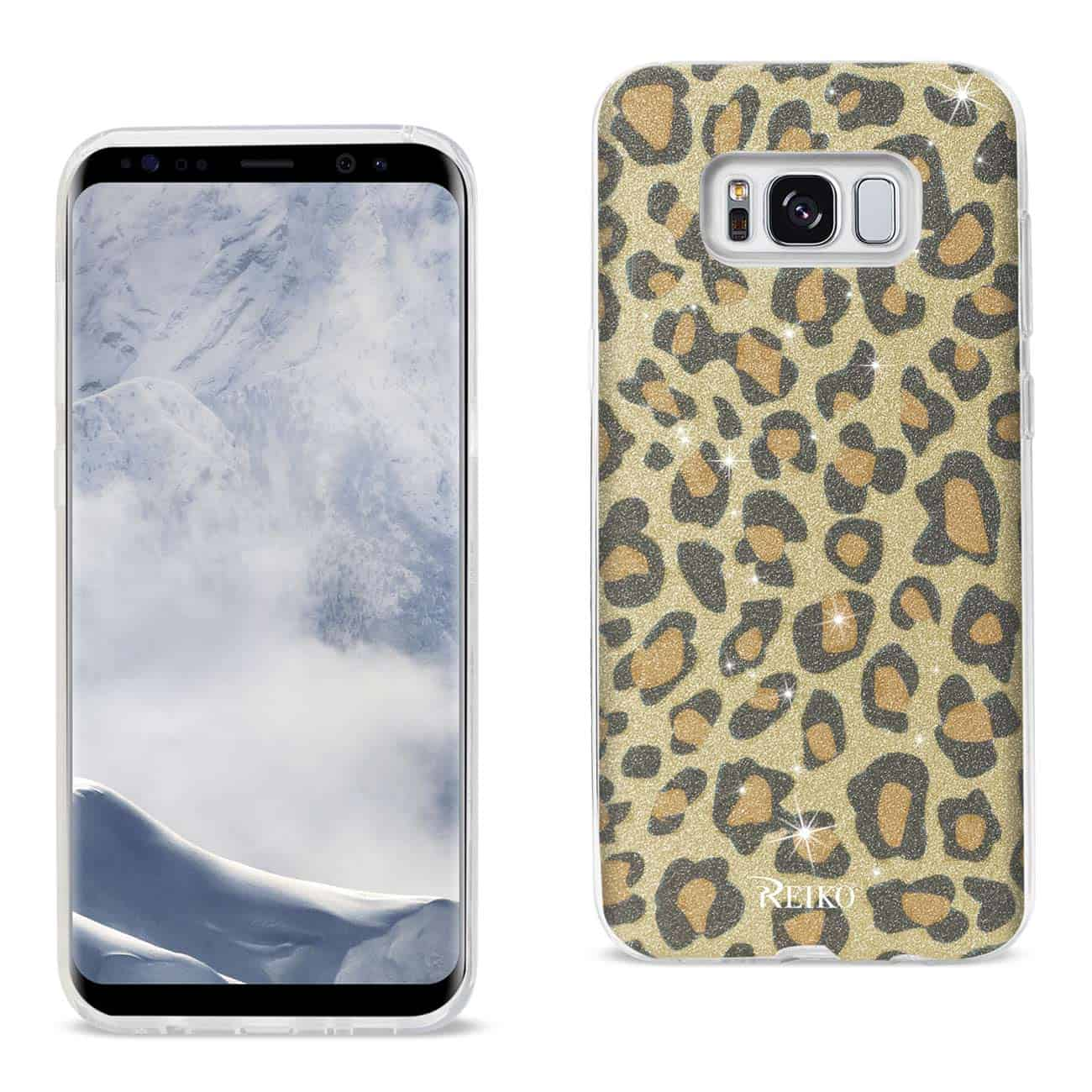 SAMSUNG GALAXY S8 EDGE/ S8 PLUS SHINE GLITTER SHIMMER HYBRID CASE IN LEOPARD GOLD