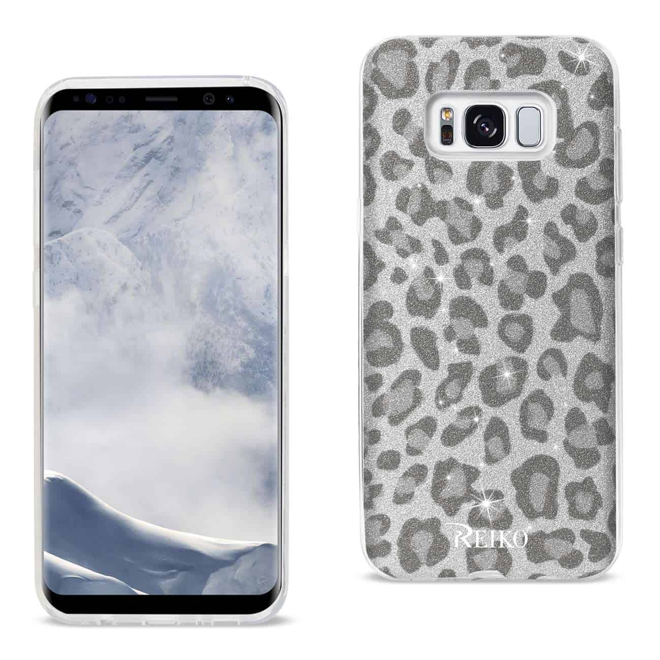 SAMSUNG GALAXY S8 EDGE/ S8 PLUS SHINE GLITTER SHIMMER LEOPARD HYBRID CASE IN SILVER