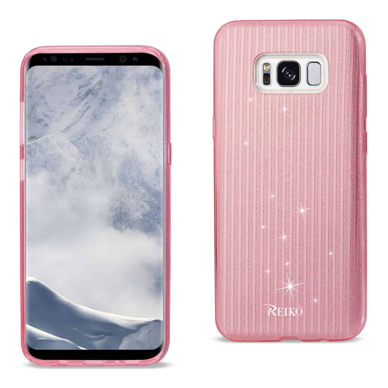 SAMSUNG GALAXY S8 EDGE/ S8 PLUS SHINE GLITTER SHIMMER STRIPE HYBRID CASE IN LINEAR PINK
