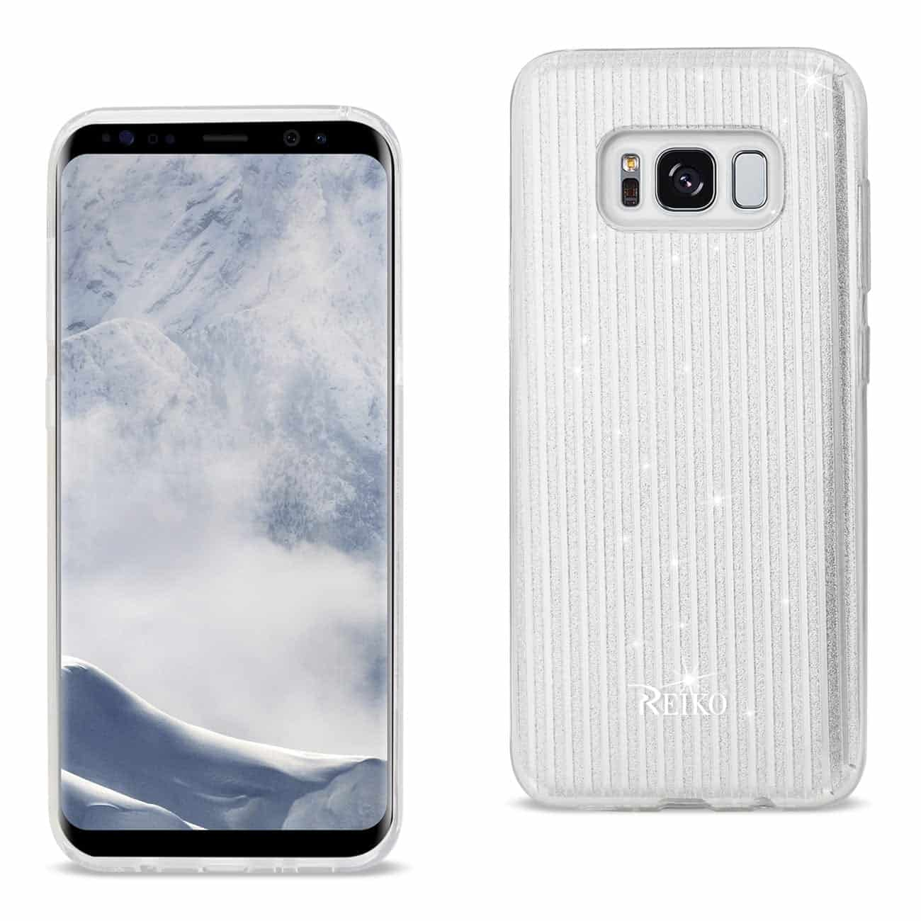 SAMSUNG GALAXY S8 EDGE/ S8 PLUS SHINE GLITTER SHIMMER STRIPE HYBRID CASE IN LINEAR SILVER