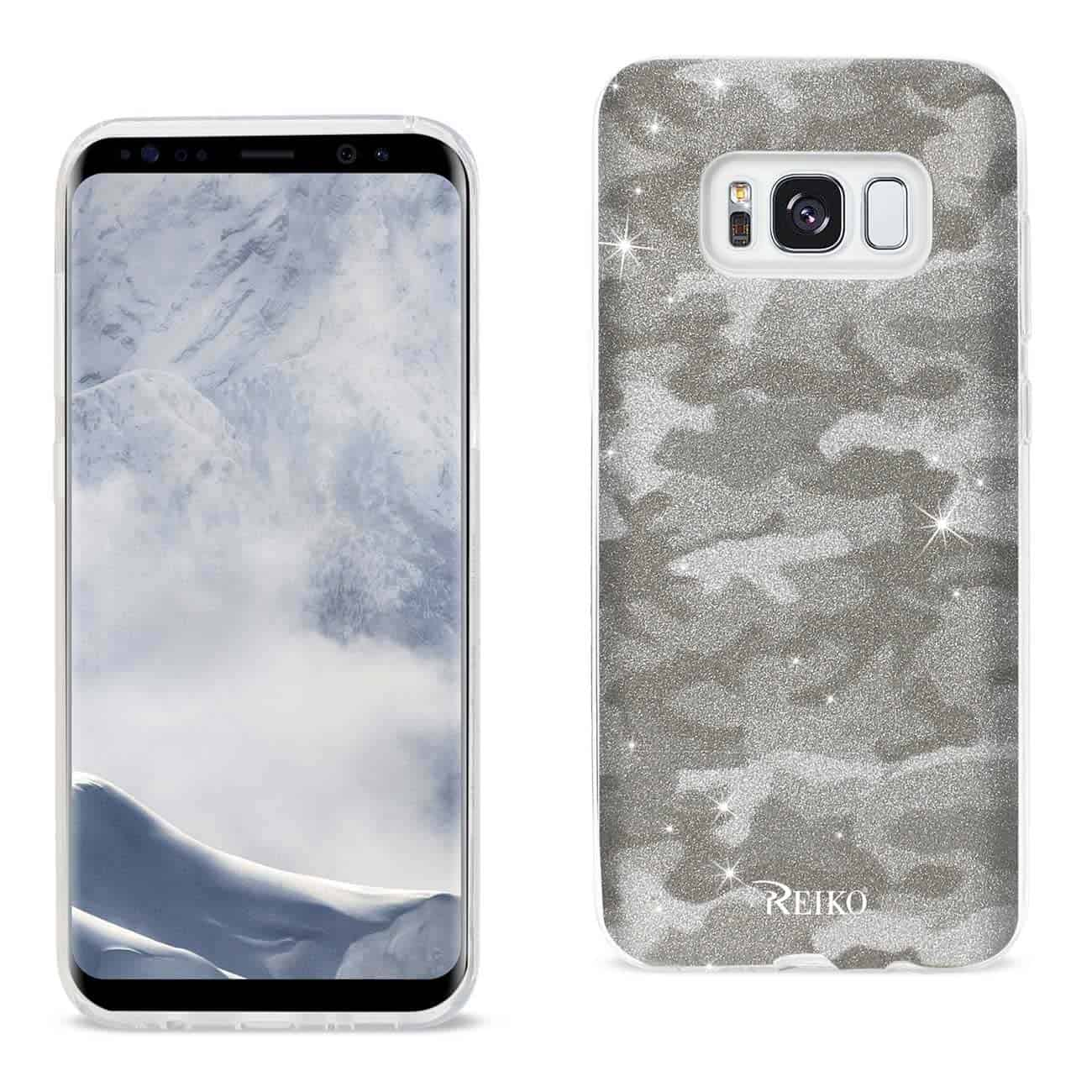 SAMSUNG GALAXY S8/ SM SHINE GLITTER SHIMMER CAMOUFLAGE HYBRID CASE IN BROWN