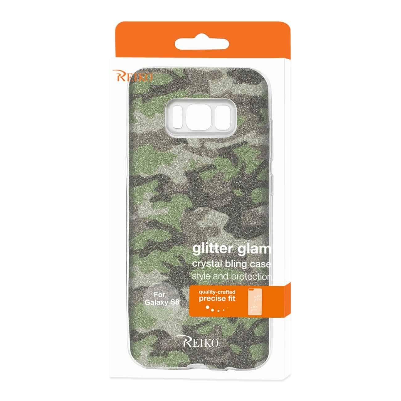 SAMSUNG GALAXY S8/ SM SHINE GLITTER SHIMMER CAMOUFLAGE HYBRID CASE IN GREEN