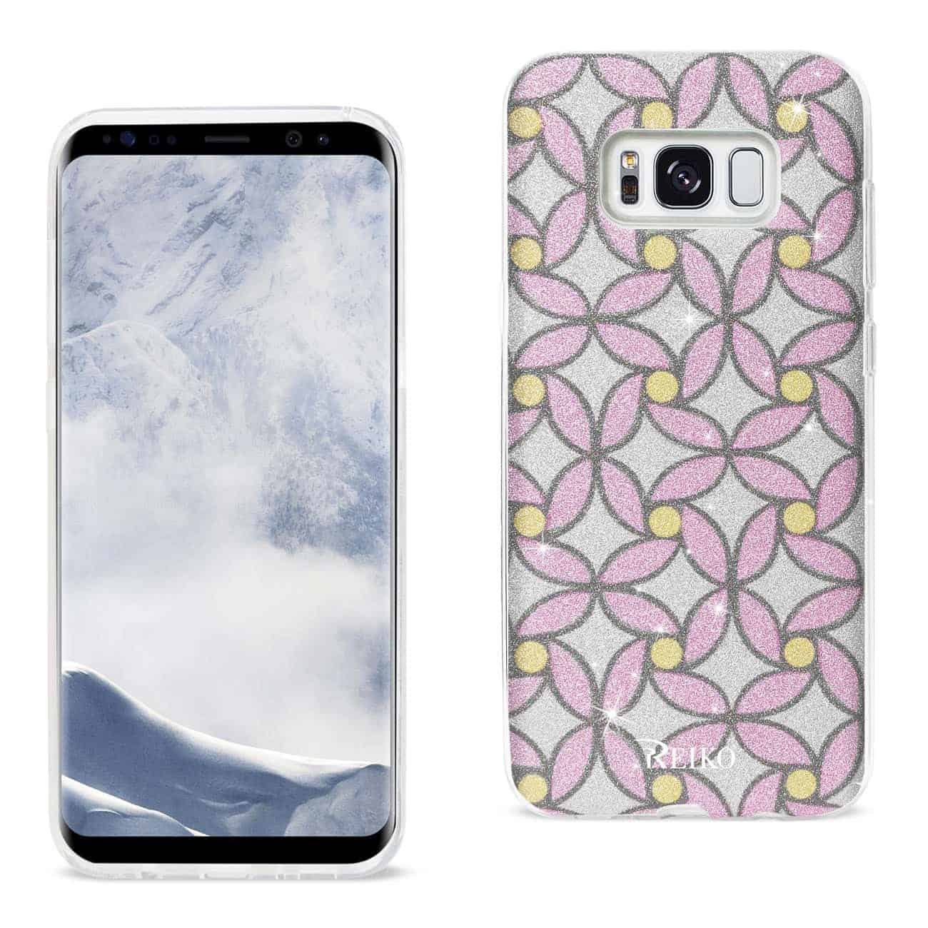 SAMSUNG GALAXY S8/ SM SHINE GLITTER SHIMMER FLOWER HYBRID CASE IN FLOWER PINK