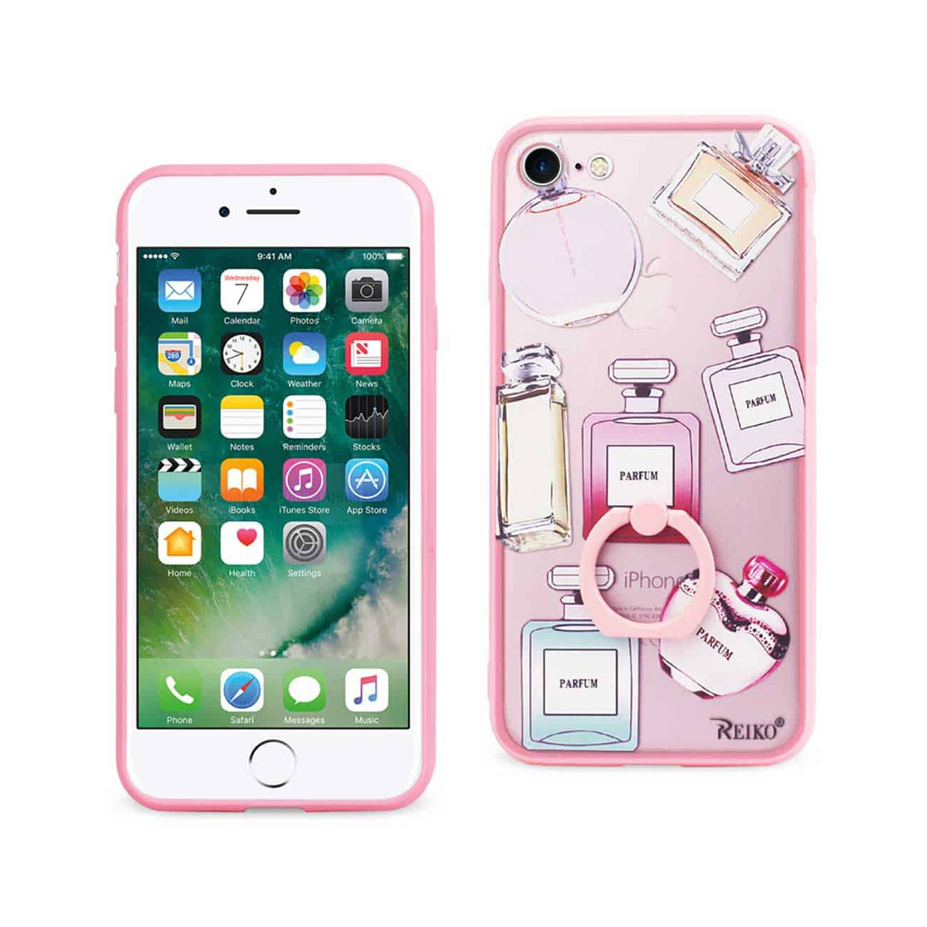 IPHONE 7/ 6/ 6S PERFUME DESIGN CLEAR CASE WITH ROTATING RING STAND HOLDER IN MIX