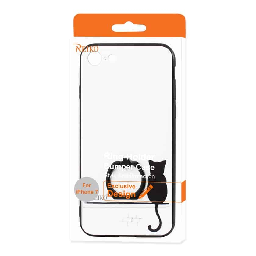 IPHONE 7/ 6/ 6S CAT SHADOW DESIGN CASE WITH ROTATING RING STAND HOLDER IN WHITE