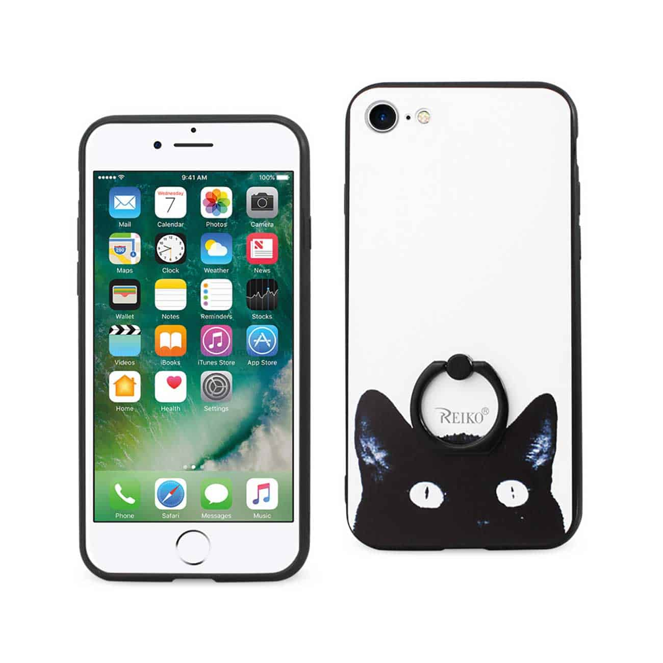 IPHONE 7/ 6/ 6S CAT DESIGN CASE WITH ROTATING RING STAND HOLDER IN MIX