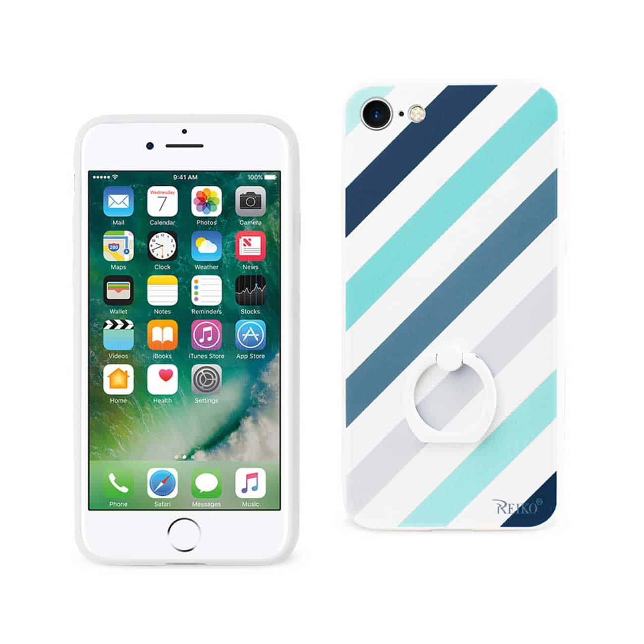 iPhone 8/ 7 Stripe Pattern TPU Case With Rotating Ring Stand Holder In Mix