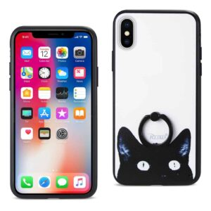 IPHONE X CAT DESIGN CASE WITH ROTATING RING STAND HOLDER