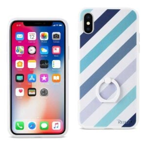 IPHONE X STRIPE PATTERN TPU CASE WITH ROTATING RING STAND HOLDER