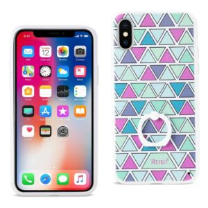 IPHONE X TRIANGLE PATTERN TPU CASE WITH ROTATING RING STAND HOLDER