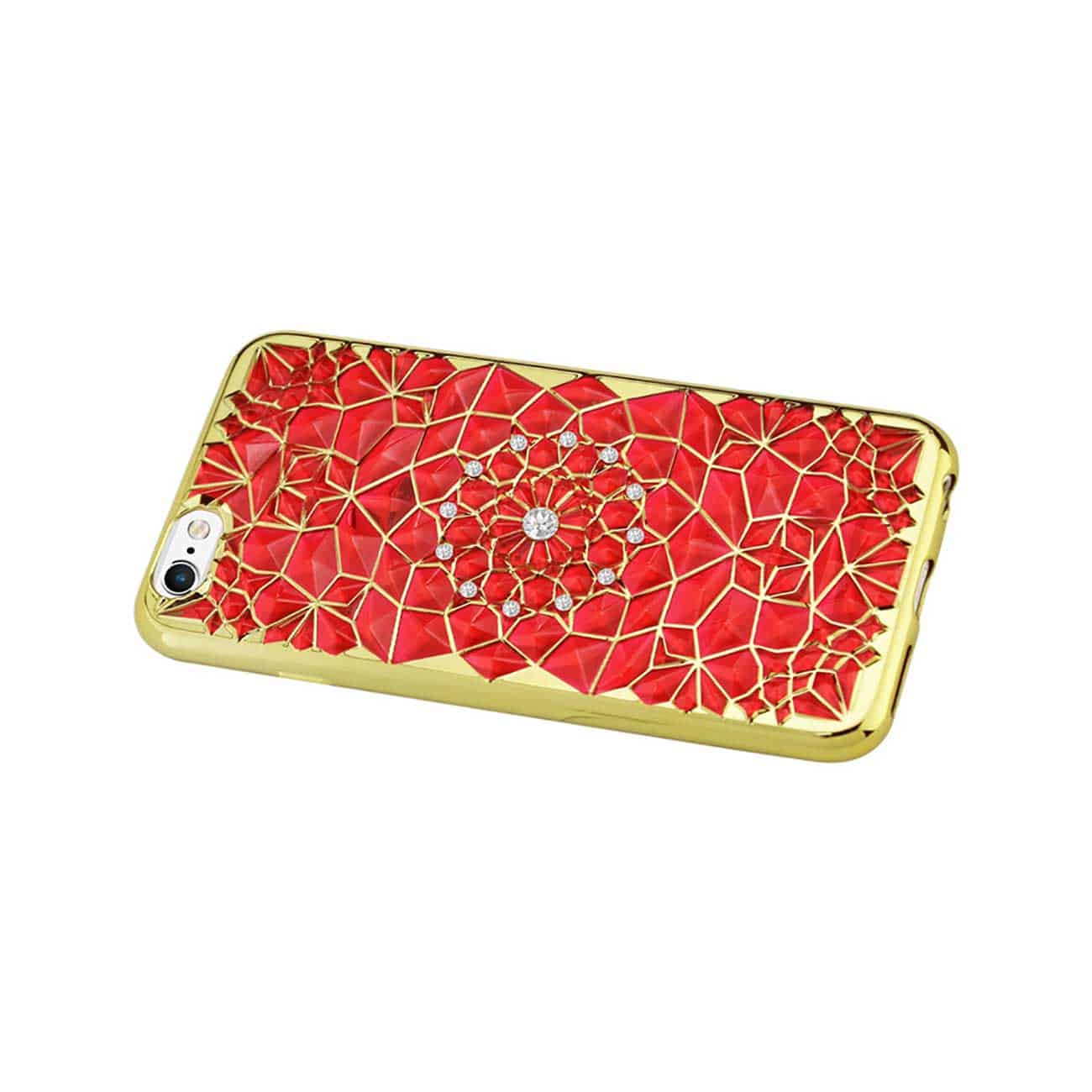 IPHONE 6 PLUS/ 6S PLUS SOFT TPU CASE WITH SPARKLING DIAMOND SUNFLOWER DESIGN IN RED