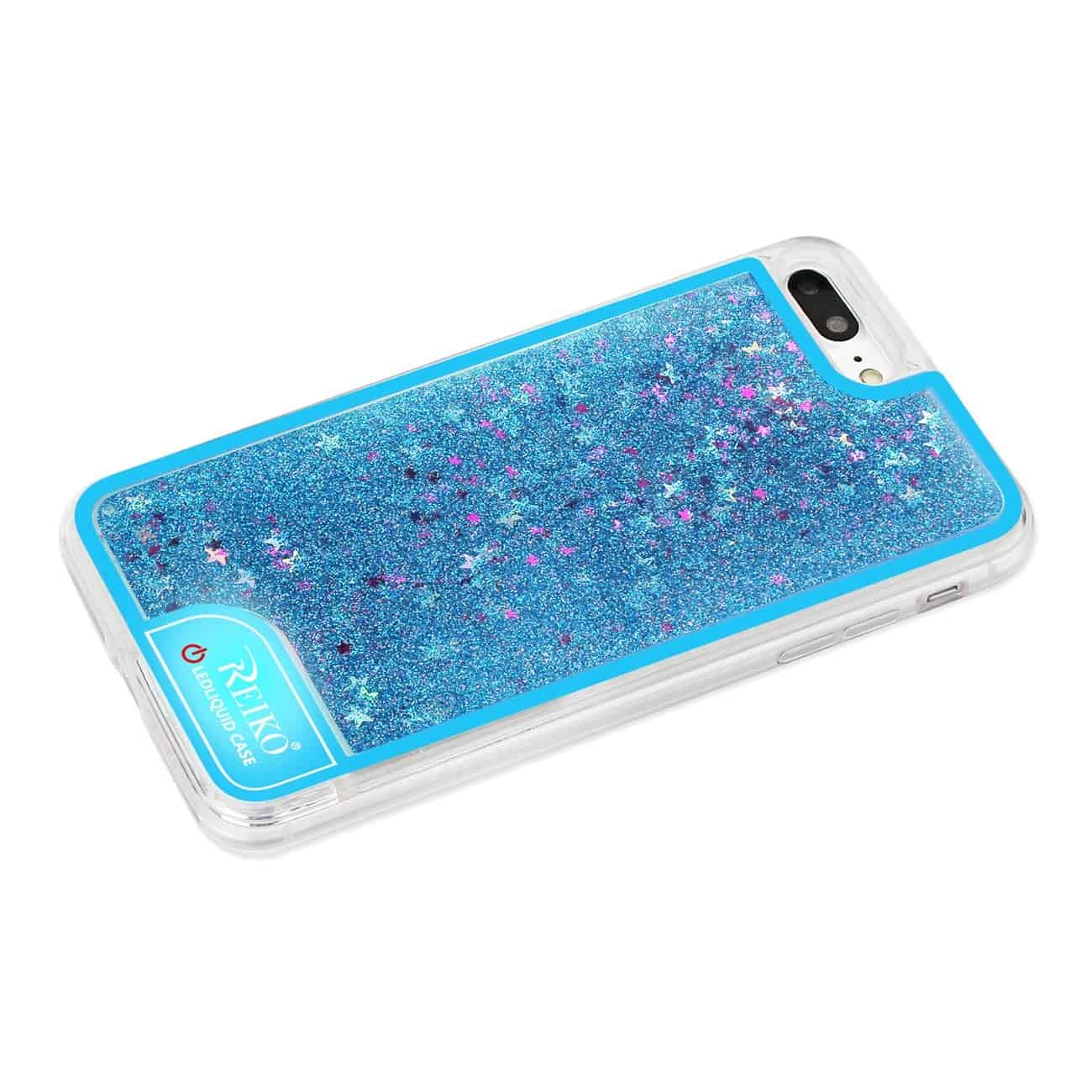 IPHONE 7 PLUS CASE WITH FLOWING GLITTER AND LED EFFECT IN BLUE