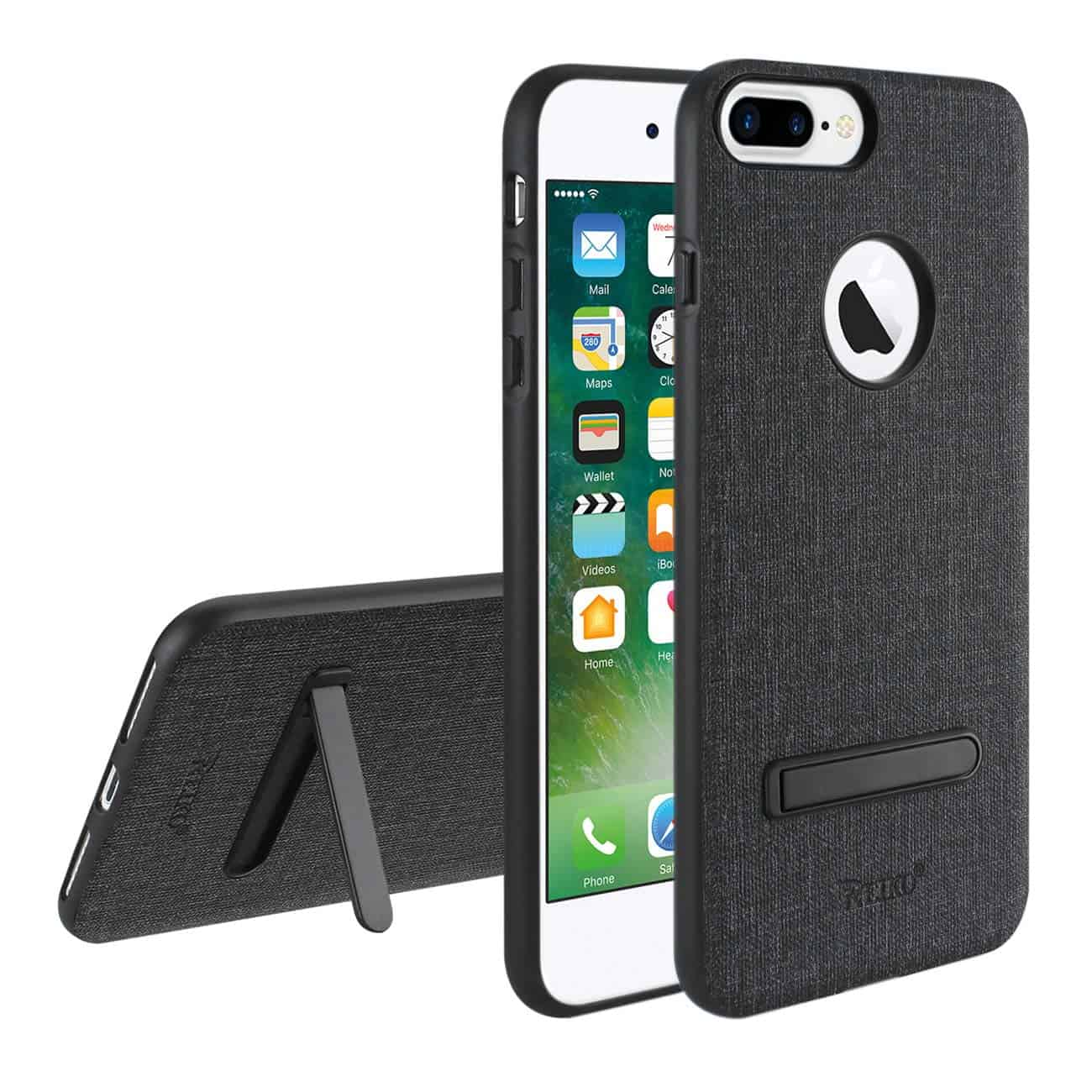 iPhone 8 Plus/ 7 Plus Rugged Texture TPU Protective Cover In Black