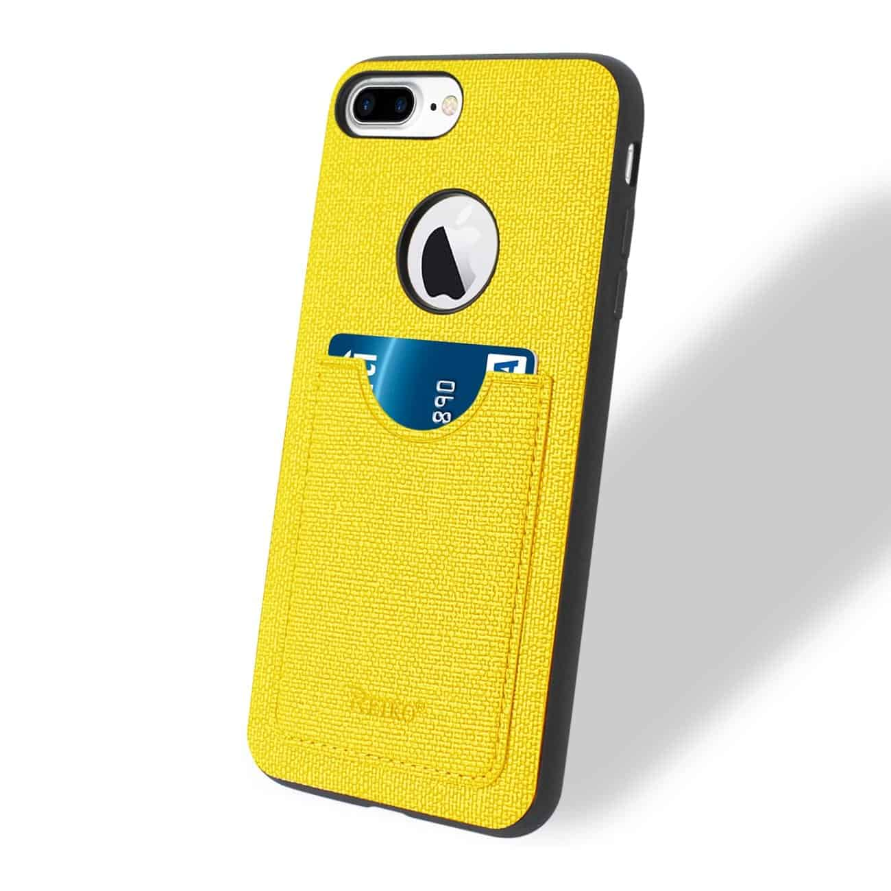 IPHONE 7 PLUS/ 6S PLUS/ 6 PLUS ANTI-SLIP TEXTURE PROTECTOR COVER WITH CARD SLOT IN YELLOW
