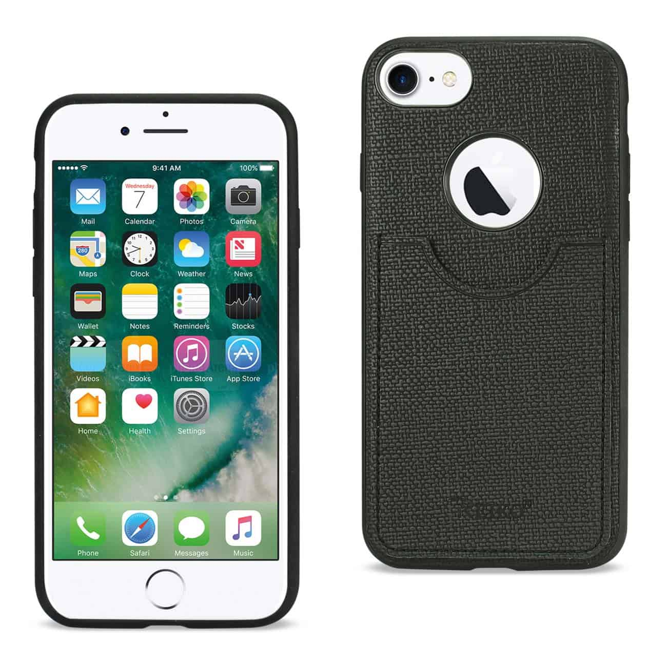 iPhone 8/ 7 Anti-Slip Texture Protector Cover With Card Slot In Black