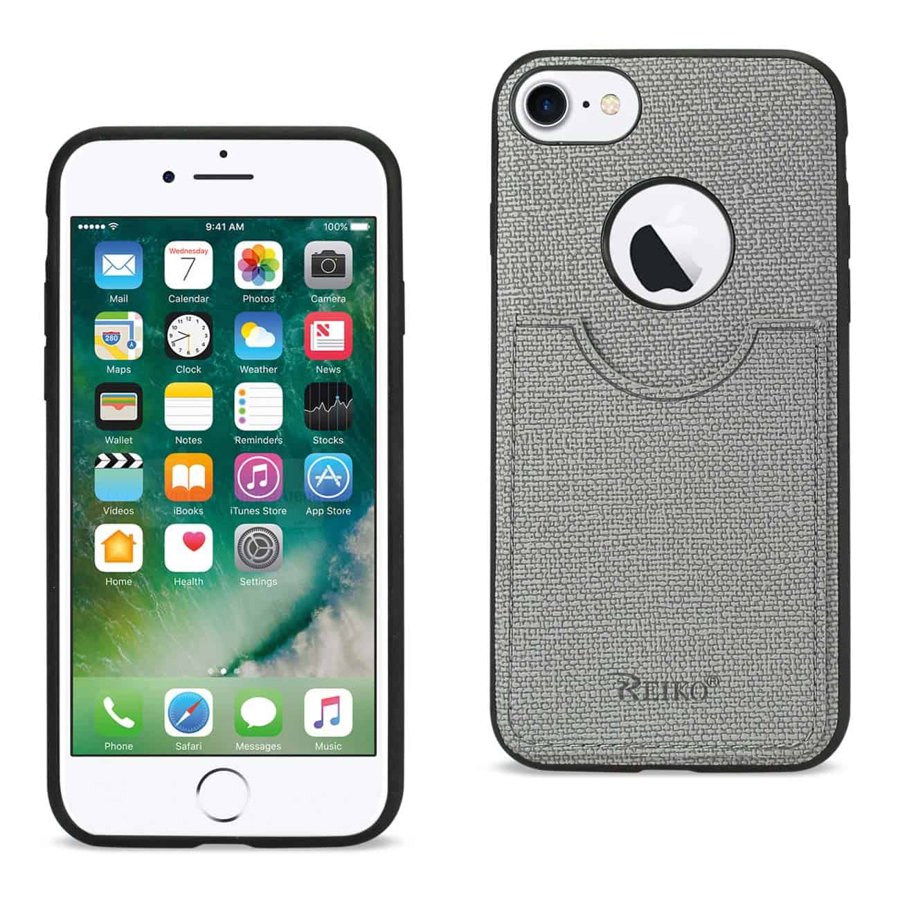iPhone 8/ 7 Anti-Slip Texture Protective Cover With Card Slot In Gray
