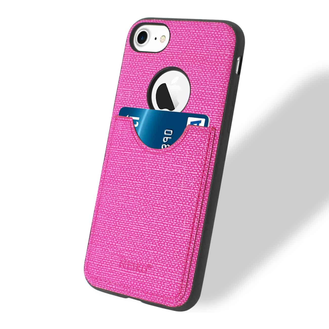 iPhone 8/ 7 Anti-Slip Texture Protector Cover With Card Slot In Hot Pink