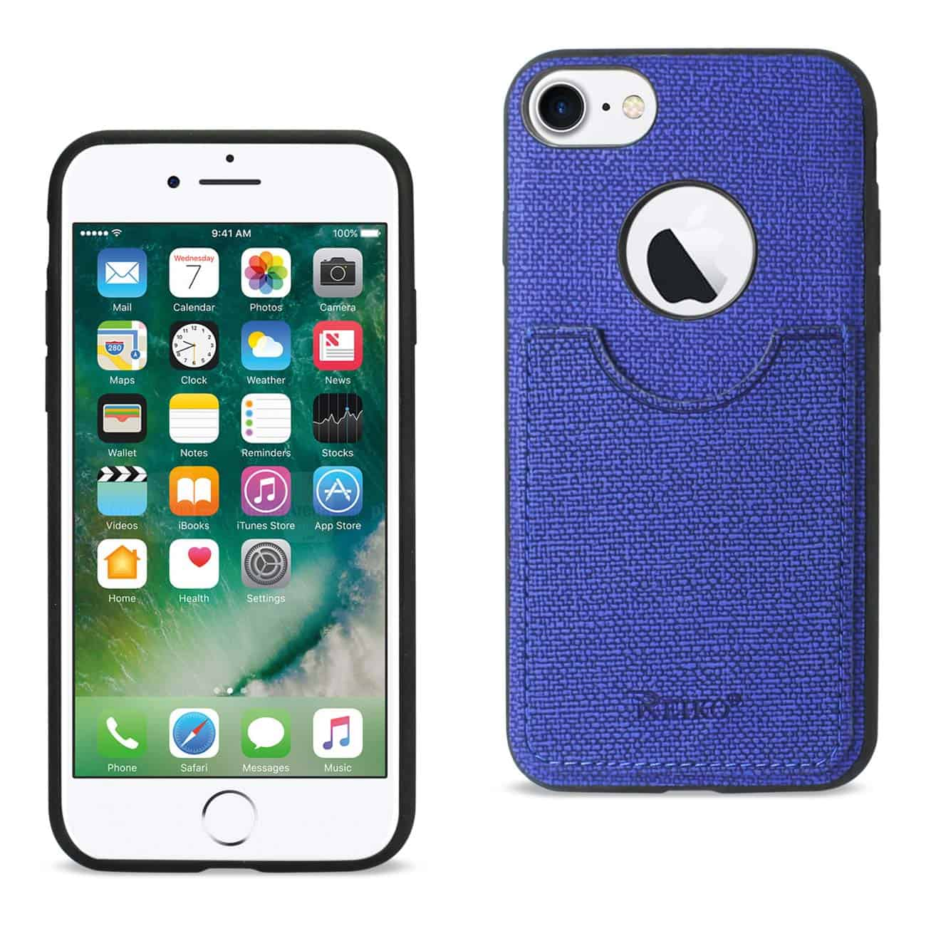 iPhone 8/ 7 Anti-Slip Texture Protector Cover With Card Slot In Navy