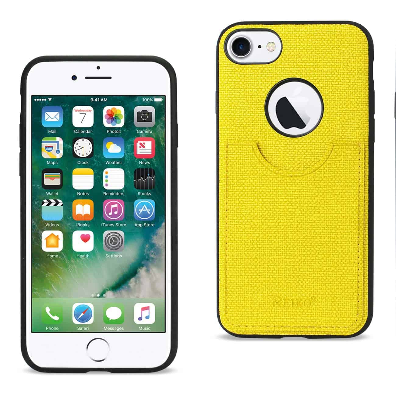 IPHONE 7 ANTI-SLIP TEXTURE PROTECTOR COVER WITH CARD SLOT IN YELLOW