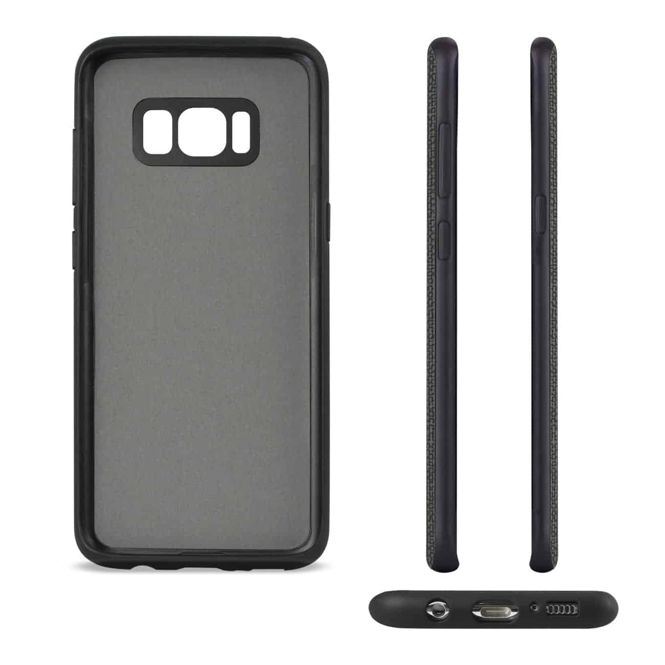 SAMSUNG GALAXY S8 EDGE/ S8 PLUS ANTI-SLIP TEXTURE PROTECTOR COVER WITH CARD SLOT IN BLACK