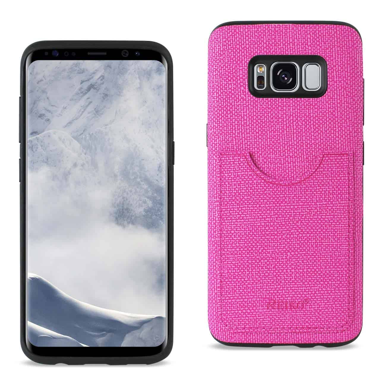 SAMSUNG GALAXY S8 EDGE/ S8 PLUS ANTI-SLIP TEXTURE PROTECTOR COVER WITH CARD SLOT IN HOT PINK