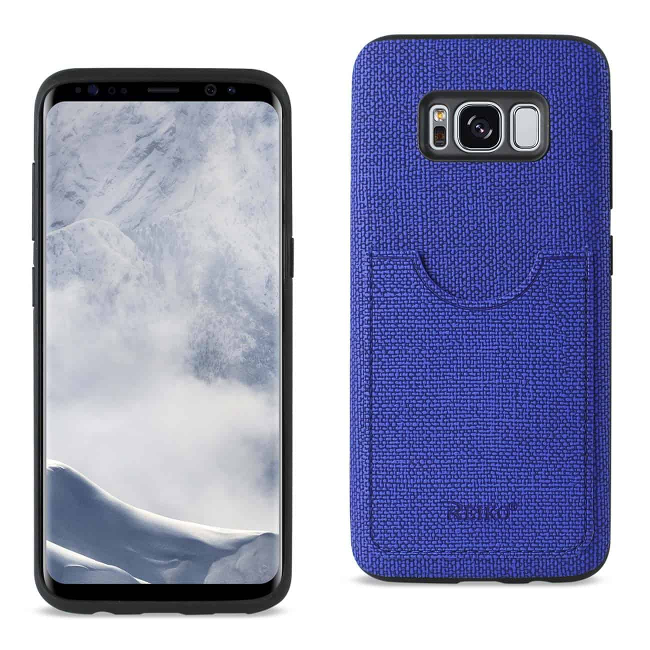 SAMSUNG GALAXY S8 EDGE/ S8 PLUS ANTI-SLIP TEXTURE PROTECTOR COVER WITH CARD SLOT IN NAVY