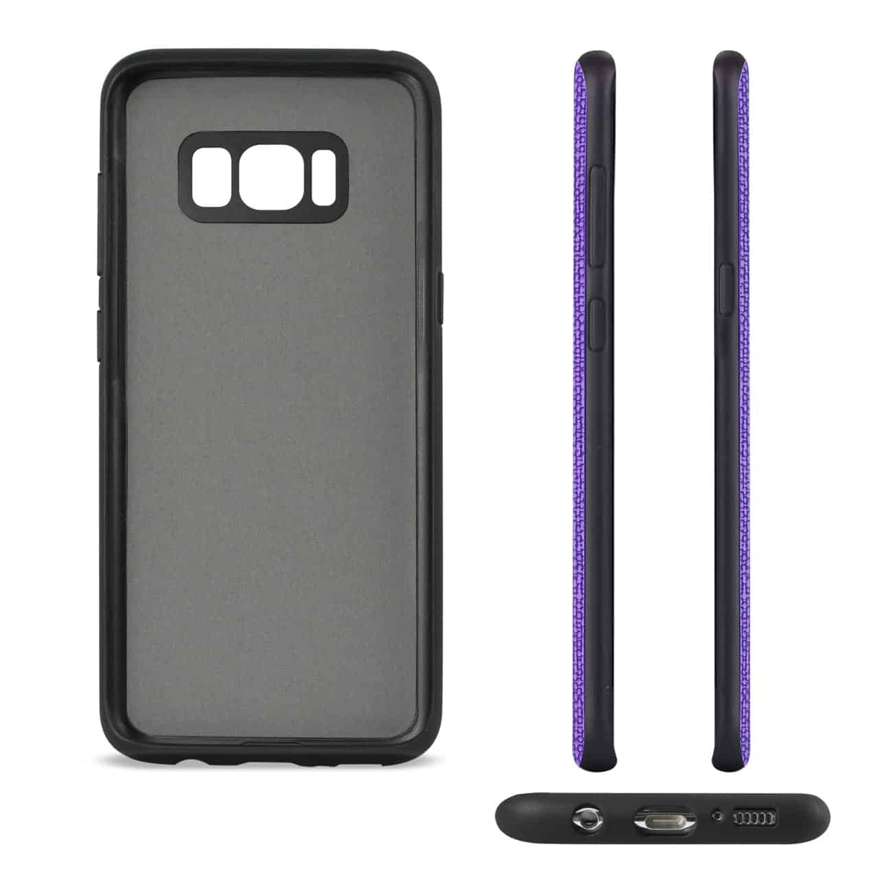 SAMSUNG GALAXY S8 EDGE/ S8 PLUS ANTI-SLIP TEXTURE PROTECTOR COVER WITH CARD SLOT IN PURPLE