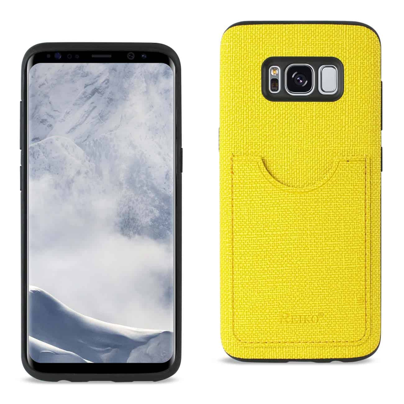 SAMSUNG GALAXY S8 EDGE/ S8 PLUS ANTI-SLIP TEXTURE PROTECTOR COVER WITH CARD SLOT IN YELLOW