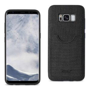 SAMSUNG GALAXY S8/ SM ANTI-SLIP TEXTURE PROTECTOR COVER WITH CARD SLOT IN BLACK