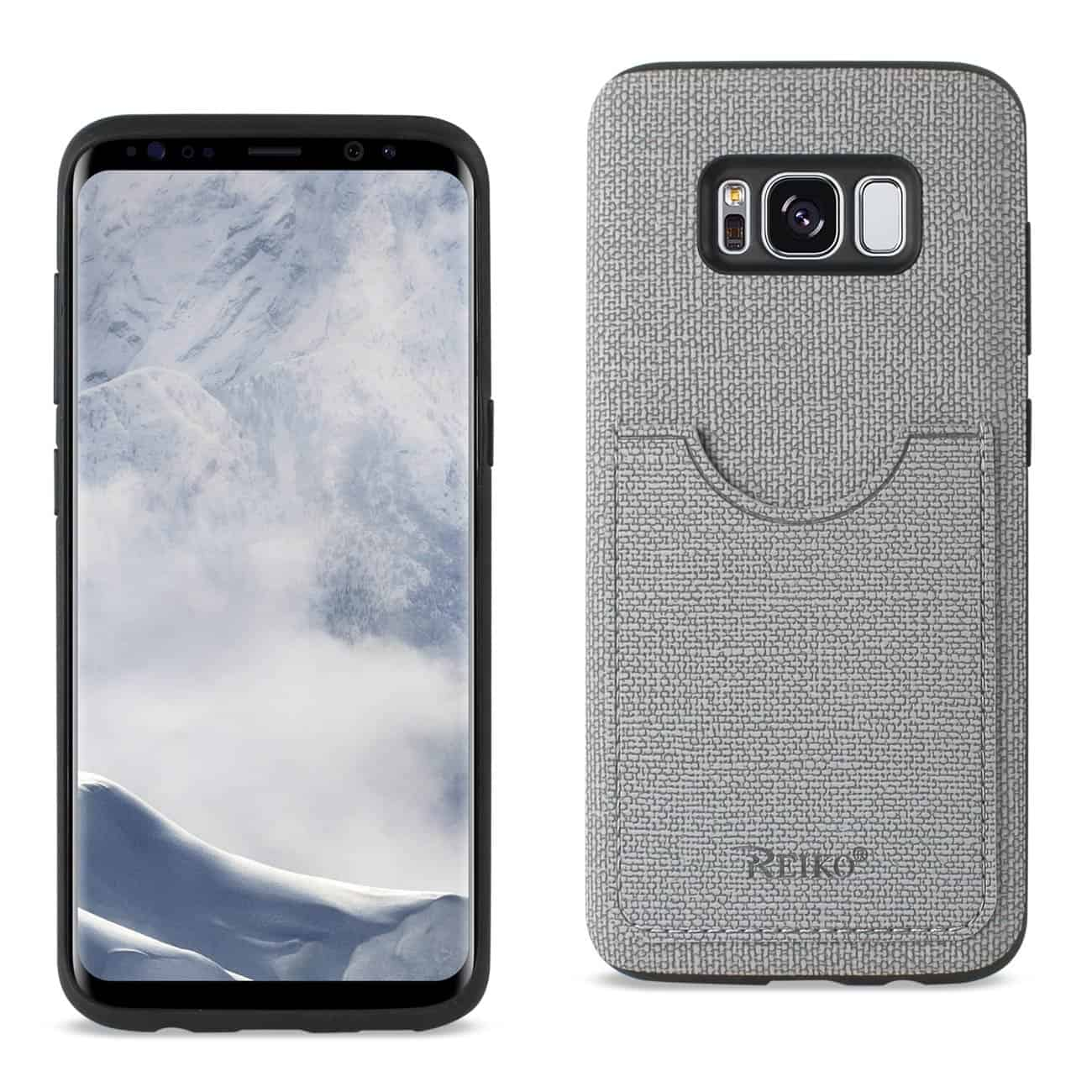 SAMSUNG GALAXY S8/ SM ANTI-SLIP TEXTURE PROTECTIVE COVER WITH CARD SLOT IN GRAY
